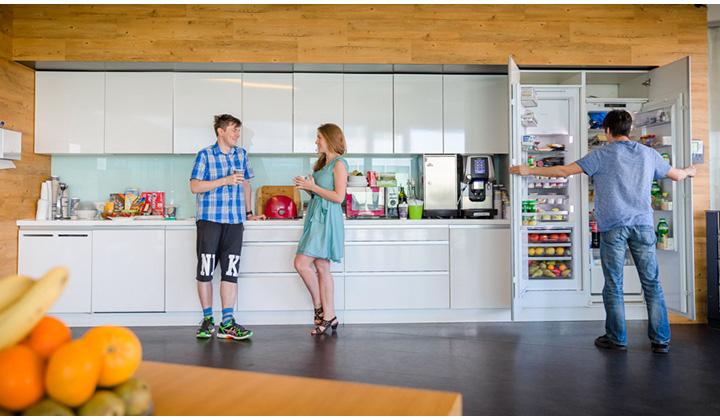 В офисе Баду есть просторная, комфортная кухня и большой холодильник, набитый вкусняшками.